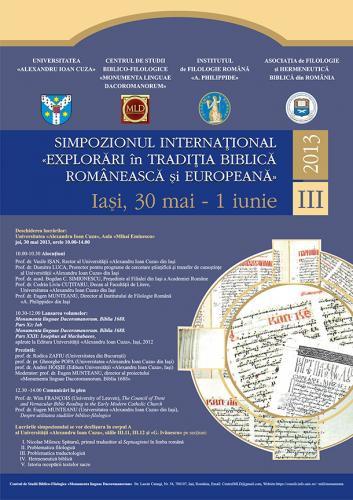 """Simpozionul ,,Explorări în tradiția biblică românească și europeană"""" (ediţia a III-a)"""