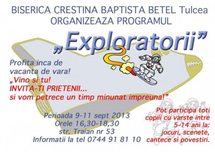 """Program pentru Copii – """"Exploratorii"""""""